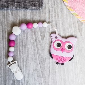 Pink Purple Owl Teether, Non-Toxic Silicone Beads